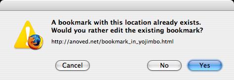 Duplicate bookmark warning