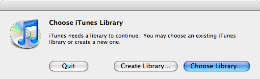 Screenshot: Choose iTunes Library dialog