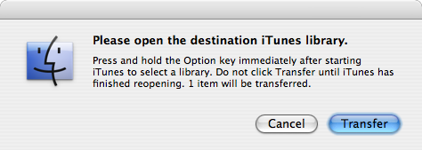 Screenshot: Transfer prompt