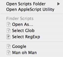 Screenshot: Example Script Menu contents