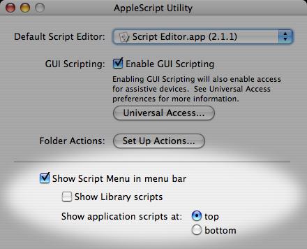 Screenshot: Enabling the Script Menu with AppleScript Utility