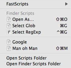 Screenshot: Example FastScripts menu contents