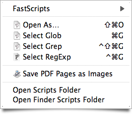 My FastScripts menu, as it appears in the Finder.