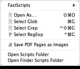 My FastScripts menu, as it appears in the Finder.