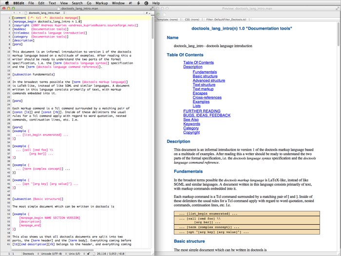 Doctools syntax highlighting and preview filter screenshot