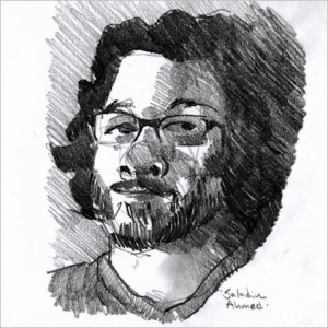 Portrait sketch of Saladin Ahmed