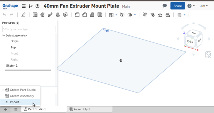 Screenshot-40mm Fan Extruder Mount Plate - Onshape - Google Chrome
