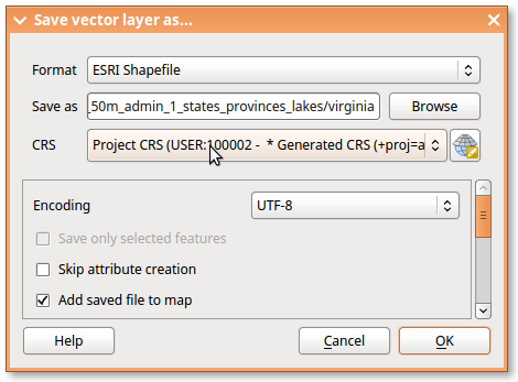 Screenshot-Save vector layer as...