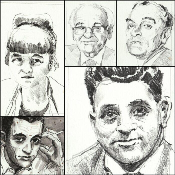 Collage of five author portrait sketches