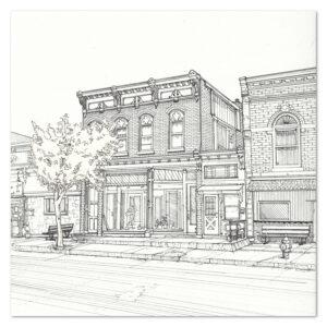Pen illustration of a building