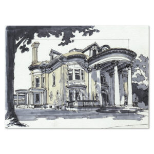 Marker sketch illustration of the Davidge Mansion