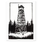Relief print illustration of a Catskills Firetower