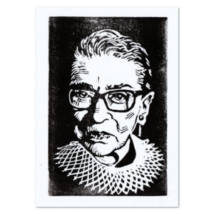 Relief print portrait of Ruth Bader Ginsburg