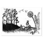 Relief print illustration of rabbits